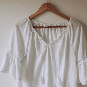 Old Navy white bell sleeve blouse